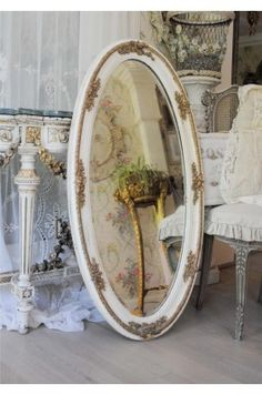 Large 1900's Oval French Barbola Gesso Wall Mirror with Original Beveled Glass