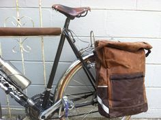 Bicycle Waxed Canvas Conversion Backpack and Pannier, brown bicycle accessory