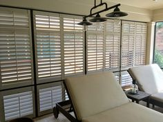 Our exterior shutters look great and provide the shade and privacy that this homeowner wanted on their porch. Exterior Shutters, Window Shutters, Sunroom Ideas, Shades Blinds, Window Treatments, Beach House, Porch, Windows, Curtains