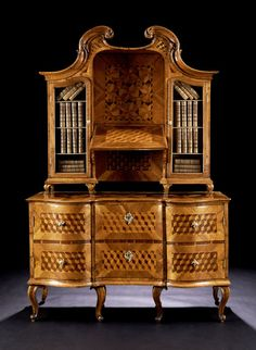 rare, late-baroque ladies essay writing furniture mid-18th century. With pull-out chair and adjusted in the top panel. Construction in soft wood, veneered in light walnut, with fields forming fine, bright thread inserts therein Würfelmarketerie in bright and dark rosewood Taxusholz. The substructure appears as zweischübige dresser. The front slightly retracted segmentbogig concave can be extracted as chair. The pages S-arching convex / concave laterally receding.