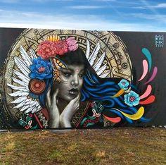 Kathrina Rupit in Decazeville, France, 2019 Graffiti Wall Art, Murals Street Art, Mural Wall Art, Street Art Graffiti, Pop Art, Urban Street Art, Grunge Art, Amazing Street Art, Art Anime