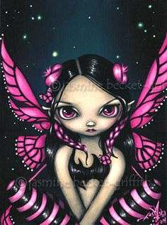 Pink Butterfly Fairy gothic big eye art Jasmine Becket-Griffith CANVAS PRINT