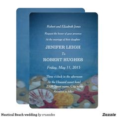 Nautical Beach wedding Card Nautical beach wedding invitation. This wedding invitation has a deep blue background, with colorful shells on the sand. This collection has matching rsvp, thank you card and more. Please visit my shop for matching items or check out the collection.