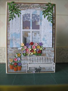 I made this card using Rob Adams window die set and papers from coordinating cd, Marrianne bench, Cheery Lynne cats and leaves Rob Adams, Swing Card, Wedding Cards Handmade, Anna Griffin Cards, Step Cards, Window Cards, Glitter Cards, Get Well Cards, Card Patterns