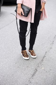 Style/fashion - black suit trousers with pink coat and leopard print shoes