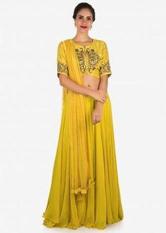 8287cfda87ff Crop Top and Skirt Lehengas: Buy Designer Crop Top & Shirt Lehengs Online