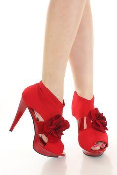 a899ec1b40b Red Lycra Upper Flower Accent Mid Strap Platform Heels   Sexy Clubwear