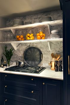 Designs by Sundown is a 2020 Gold List honoree featured in Luxe Interiors + Design. See more of this design professional's projects. Kitchen Backsplash, Kitchen Cabinets, Blue Cabinets, Backsplash Ideas, Kitchen Interior, Kitchen Design, Kitchen Ideas, Estilo Interior, Ideas Hogar