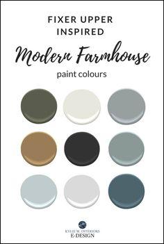 The Best Modern Farmhouse Paint Colours – Benjamin Moore Country Paint Colors, Modern Paint Colors, Bedroom Paint Colors, Kitchen Paint Colours, Fixer Upper Paint Colors, Interior Paint Colors For Living Room, Modern Color Palette, Neutral Paint, Gray Paint