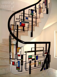 Mondrian style balustrades steel, brass & stained glass