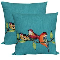 Mainstays 16 x 16 in. Birdie Turquoise Outdoor Toss Pillow - Set of 2
