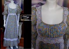 Vintage Black Label GUNNE SAX Long Calico Floral Dress Lace Detail Prairie Dress Victorian Steampunk Excellent Condition LARGE Size by WestCoastVintageRSL, $168.00