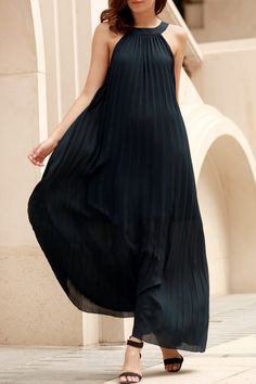 Deep Blue Pleated Sleeveless Maxi Dress DEEP BLUE: Maxi Dresses | ZAFUL