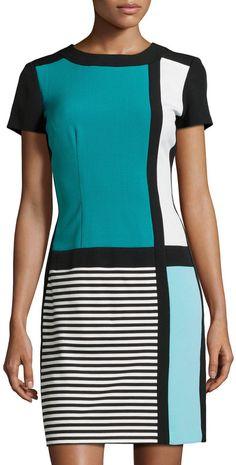 Chetta B Colorblock Stripe Short-Sleeve Dress, Black/Juniper