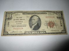 $10 1929 MOBILE ALABAMA AL NATIONAL CURRENCY BANK NOTE BILL! CH. #1595 RARE!