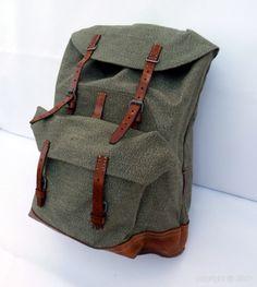 Sac à dos toile et cuir style militaire - Soyez original et vintage avec ce superbe sac à dos