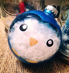Handmade ornament - Little penguin filled with snow! By Laura Holmes