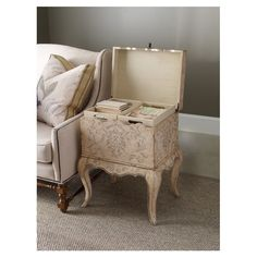Lovely Amador End Table - Lid lifts to reveal two lift out trays with storage space below. Place a lamp or decor on top too.  Great little hide-away storage!