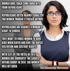 Women are the largest voting group! 53% of votes in 2012 FIGHT #WOW! #WomensRights https://twitter.com/JoeMomasNuts/status/400652364178137088