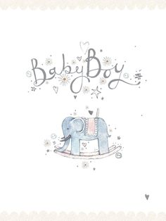 Baby Boy (W007) Luxury Card by Jasmine Foster, features 'Silver Foil & Glitter' highlights on an elephant toy. http://www.thewhistlefish.com/product/w007-baby-boy-luxury-card-by-jasmine-foster