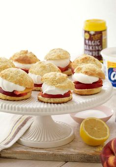 Peach Shortcakes — Easy-to-make shortcakes are filled with sliced ripe peaches and COOL WHIP Whipped Topping for the perfect dessert recipe for any summer meal!