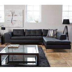 Vienna leather right hand corner sofa black