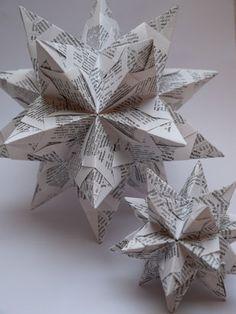 Bascetta-Stern: 30 Module gefaltet aus Recyclingpapier Schrift