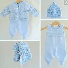 Ravelry: Kirstisi's Hentesett I Blått - Diy Crafts - maallure Baby Dungarees, Baby Jumpsuit, Baby Dress, Knitted Baby Cardigan, Knitted Baby Clothes, Sirdar Knitting Patterns, Knit Patterns, Layette Pattern, Pull Bebe