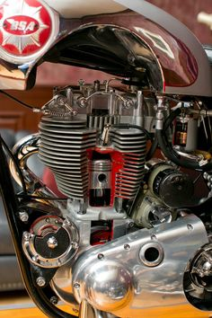 """Built by BSA for the 1956 Earls Court Motorcycle Show in London, the """"living art""""exhibit began. Motorbike Parts, Motorcycle Tank, Retro Motorcycle, Motorcycle Design, Bicycle Design, British Motorcycles, Triumph Motorcycles, Vintage Motorcycles, Cars And Motorcycles"""