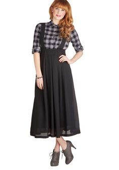 ModCloth Roll the Clip Skirt #womens #black #polyester #dirndl-inspired-suspenders #pleated #midi #skirt #wantering #chic #sweet #fashion #style #trends