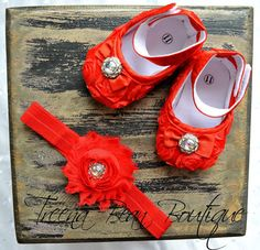 Red Baby Girl Shoes-Fancy Glamour Baby Crib Shoes-Baby Headband and Shoes-Baby Girl Headband-Newborn Baby Girl on Etsy, $19.95