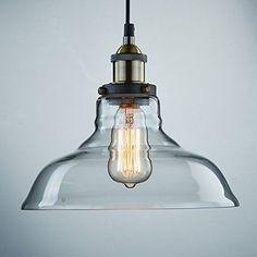 Ecopower Industrial Edison Vintage Style 1-Light Pendant Glass Hanging Light #CLAXY