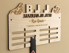 Personalized BJJ Medal Hanger - Laser Cut Medal Hanger - Brazilian Jiu Jitsu Martial Arts Wooden Medal Rack - Handmade Wall Medal Display
