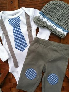 Onesie with Gingham Tie, Gray Suspenders, Gray Pants with Gingham Knee Patches and Newsboy Hat.