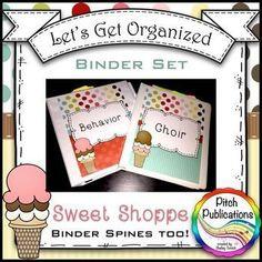 Let's Get Organized - SWEET SHOPPE - Music Binder Covers!  Brighten your day with some music teacher organization.  #tpt #musictpt #musicdecor