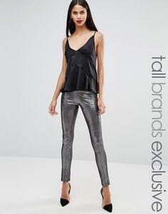 Glamorous Tall Metallic Elastic Waist Leggings