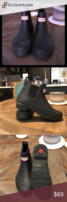 Hunter Chelsea Rain Boots - worn only a few times! Worn only a handful of times!! Authentic Hunter Chelsea rain boots! Great for a rainy day without having to slosh around in your big old rain boots. Hunter Shoes Winter & Rain Boots