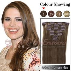 20 Inches 7pcs Clip-in Human Hair Extensions Straight (#8 Light Brown)