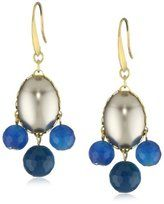 david aubrey lauren oval pearl with 3 blue lace agate drops earrings