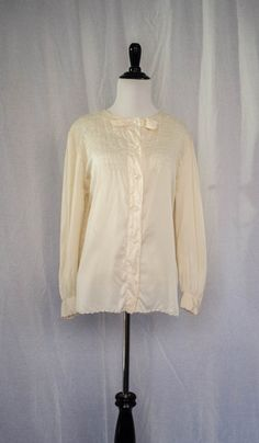 Vintage 1970's 'Cloudmere' Embellished Cream Silk Blouse Size L by BeehausVintage on Etsy