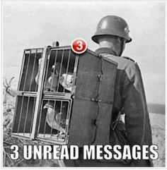 Funny German Soldier Pigeon Post Unread War Three Facebook SMS Text Messages Meme Photo