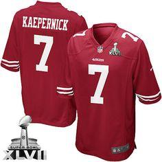 Elite Kids Colin Kaepernick #7 Red San Francisco 49ers Super Bowl XLVI Team Color NFL Jersey-Nike Elite Colin Kaepernick Jersey Sale