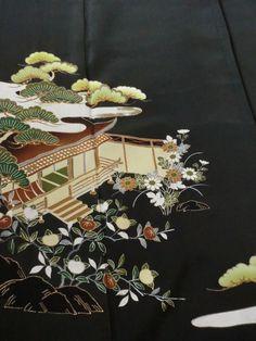 Japanese Kimono Silk Black Tomesode Japanese Garden Style P112925   eBay