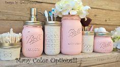 Bathroom Set,Bath Set,Mason Jar,Bathroom Accessories,Shabby Chic Bathroom,Wedding Gift,Mason Jar Gifts, Painted Mason Jars,Blue,Pink,White
