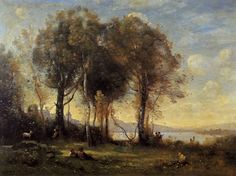 Corot Paintings-Goatherds on the Borromean Islands, c.1866