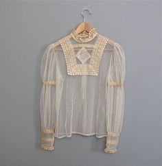 vintage sheer LACE blouse S M