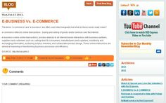 E-BUSINESS Vs. E-COMMERCE