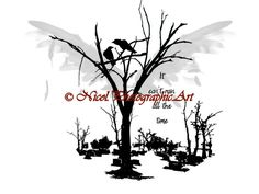 Crow Bird Tree Wings Black White Landscape Home Decor Matted Picture Print A190 by nicolphotographicart on Etsy