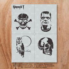 Stencil1 Halloween 4 Pack Stencil S1_01_HAL4_01 on Etsy, $14.57 CAD