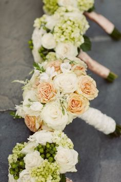 Peach cream and green bouquets Kate Preftakes Photography